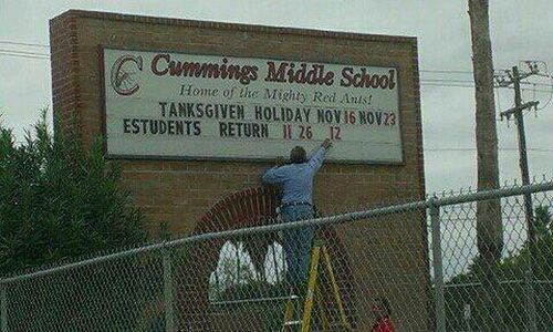 Cummings Middle School typo