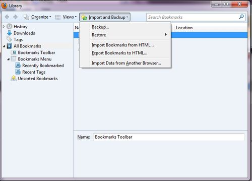 exporting favorites and bookmarks