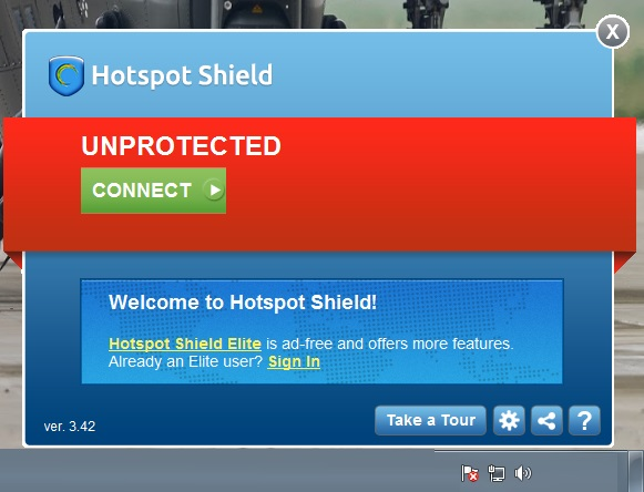 hotspot shield initial screen