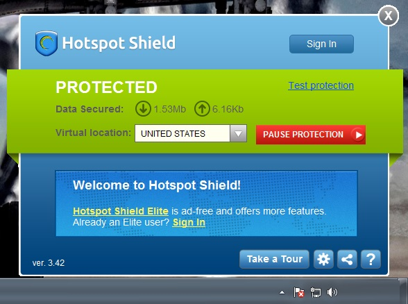Hotspot Shield VPN Free window