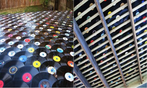 old vinyl records roof